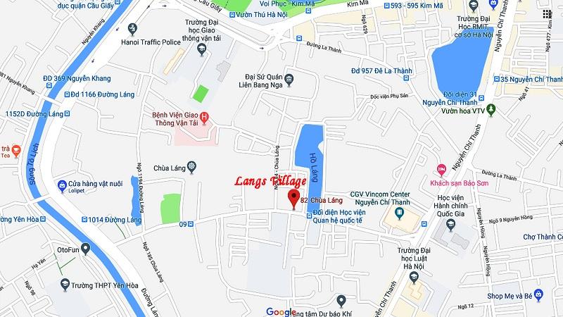 Vị trí dự án Langs Village nằm ở số 82 đường Chùa Láng